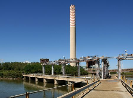 pila: Pila (Ro),Veneto,Italy,Po River Delta,the thermoelectric Central inoperative