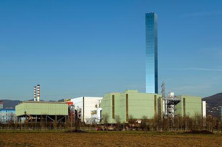 municipal: Brescia.Lombardy,Italy, the Central to the incineration of municipal waste e garbage