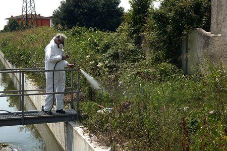 Un tecnhnician de la salud de la empresa de desinsectación, insectos, ratas, virus, etc Foto de archivo - 5542201