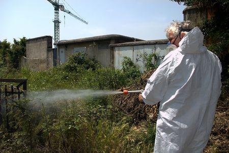 Un tecnhnician de la empresa disinsecting de salud por, insectos, ratas, virus, etc..  Foto de archivo - 5542134