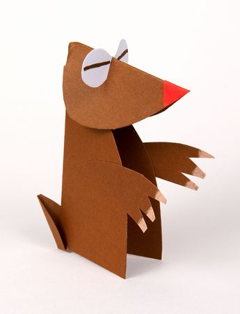 blind child: a mole made with paper,origami