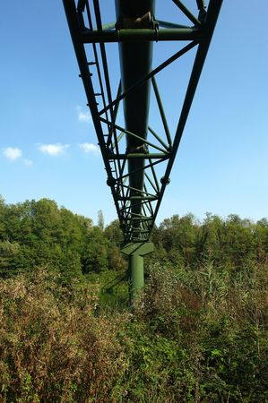 methane: Imbersago ( Lc),Lombardy,Italy,river Adda,the pipes of the methane to cross the river Stock Photo