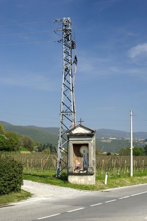 Provezze (Bs),Franciacorta,Italy,a santella with an electricity pylon Stock Photo - 6878341