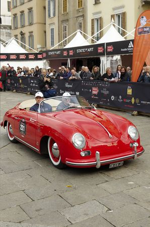 mille: BRESCIA,ITALY - MAY,6: a Porsche 356 Speedster  of 1954 at the puncing of Mille Miglia,the famous race for historic cars,May 6,2010 in Brescia,Italy