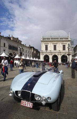 mille: BRESCIA,ITALY - MAY,6: a Arnolt Bristol Bolide  of 1954  at the puncing of Mille Miglia,the famous race for historic cars,May 6,2010 in Brescia,Italy