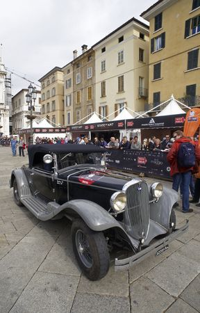 mille: BRESCIA,ITALY - MAY,6: a OM 4695 of 1930 at the puncing of Mille Miglia,the famous race for historic cars,May 6,2010 in Brescia,Italy