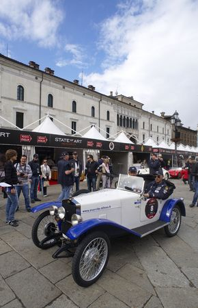 mille: BRESCIA,ITALY - MAY,6: a Sam C25 F  of 1925 at the puncing of Mille Miglia,the famous race for historic cars,May 6,2010 in Brescia,Italy