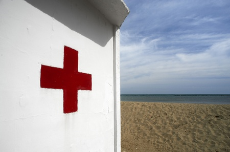 vacance: Cesenatico (Fc), Italy, the first Aid on the beach Stock Photo