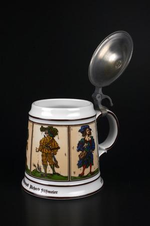 ceramica: a beer mug made of painted ceramica,Bavarian craft