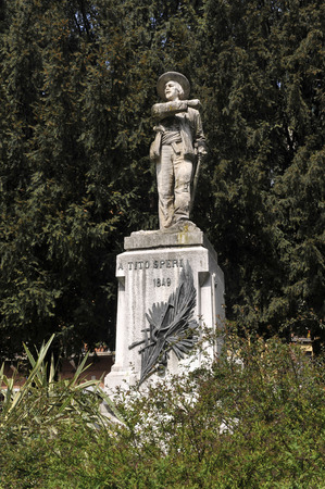 uprising: Brescia, Italy,the monument dedicated to Tito Speri,hero of the Risorgimento, during the popular uprising against the Austrians,called  The 10 Days of Brescia