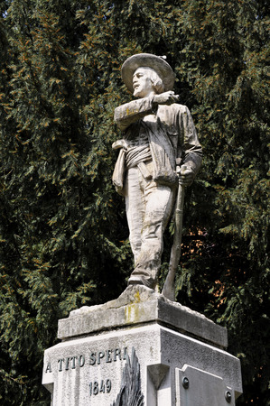 risorgimento: Brescia, Italy,the monument dedicated to Tito Speri,hero of the Risorgimento, during the popular uprising against the Austrians,called  The 10 Days of Brescia