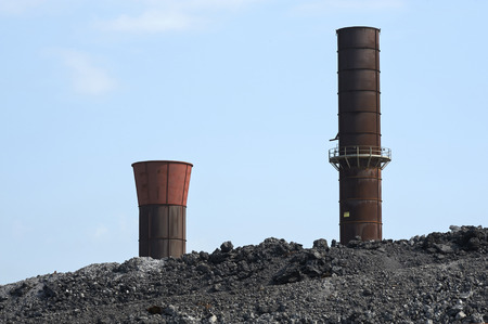 steelworks: Lombardy,Italy, two chimneys of a steelworks