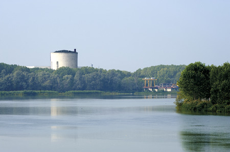 uranium: Caorso (Pc), Italy, the nuclear power plant now in dismantling on the Po river