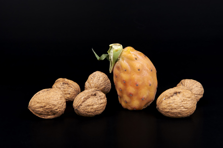 prickly: a prickly pear and some walnuts on a black background
