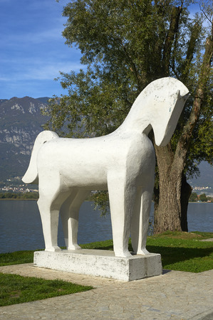 trojan: Pisogne (Bs),Italy, the monument dedicated to the Trojan Horse, on the bank of the Lake Iseo