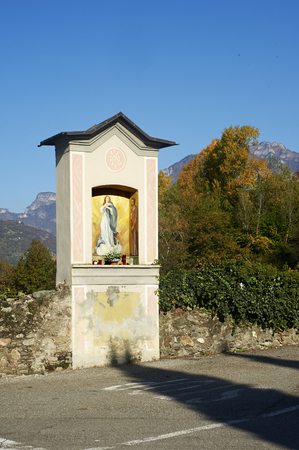 devotions: Piancumono (Bs), Valcamonica walley, Italy, a chapel dedicated at the Immaculate Stock Photo