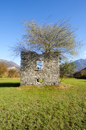 remains: Breno (Bs),Valcamonica, Italy, remains of an old rural farm building