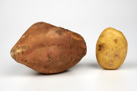 tuberosum: a sweet potato ( ipomoea batatas ) and a potato common( solanum tuberosum )  on white background Stock Photo