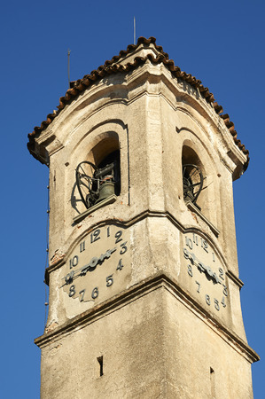 Rovato (Bs), Italy , the bell tower of the church of Saint Stephen Foto de archivo - 113564863