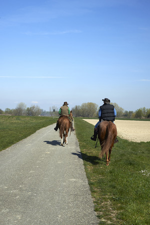 floodplain: Stagno (Pr), Italy, equestrian hiking along the banks and the floodplain of the River Po Stock Photo