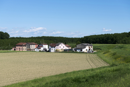 floodplain: Dosolo (Mn),Italy, a small hamlet of houses in the floodplain of the River vPo