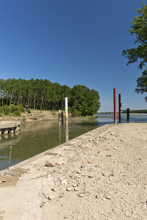 affluence: Governolo (Mn), Italy, the point of the Mincio River affluence in the Po River
