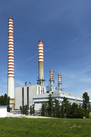 mn: Ostiglia (Mn), Italy, the termal power plant on the River Po Stock Photo