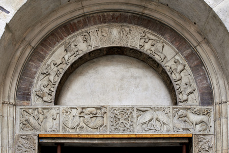 lintel: Modena,Italy,cathedral, the lintel of the Portal of Pescheria, of the thirteenth century ,with the Breton cycle of King Arthur Stock Photo