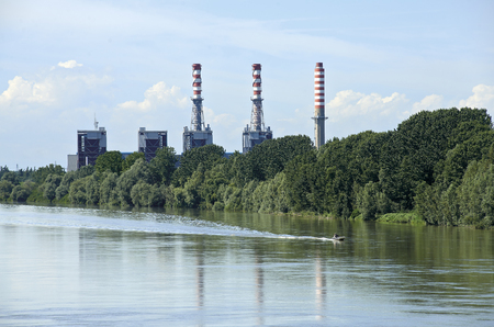 mn: Sermide (Mn), Italy, the thermal power plant on the River Po Stock Photo
