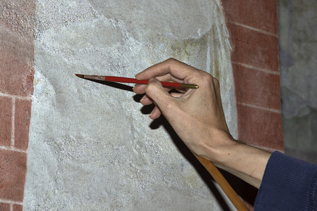 fresco: Italy, restoration of fresco in a church