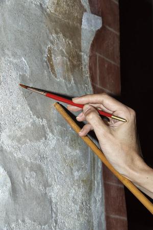 restoration: Italy, restoration of fresco in a church