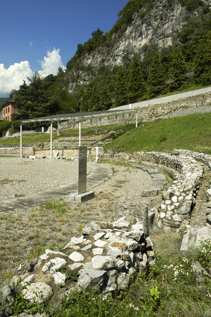 Cividate Camuno (Bs), Valcamonica, Italy, the ruins of the amphitheater  of the Roman city of Civitas Camunnorum, the first century BC