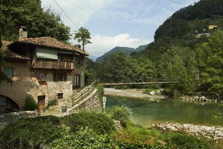 suspend: Clanezzo (Bg),Italy, the suspended bridge on the river brembo  il ponte sospeso sul iume Brembo Stock Photo