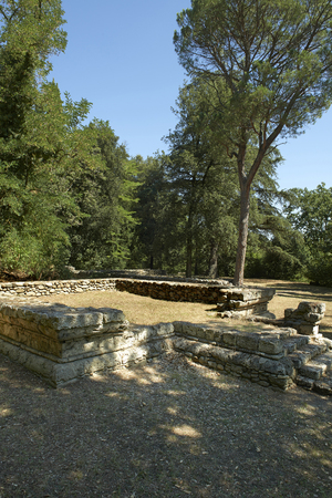 etruscan: Marzabotto (Bo), Italy, the ruins of an acropolis altar  of the Etruscan city of Kainua,sixth century BC Stock Photo