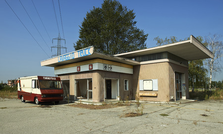 Gorgonzola (Mi), Italy, an old abandoned gas station in disuse
