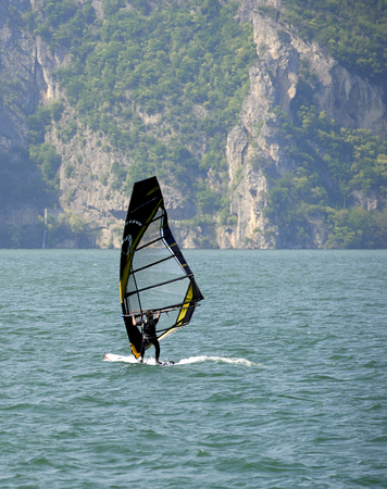 Lake of Iseo (Bs), Italy, a  wind surf Foto de archivo - 100316626