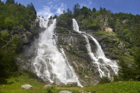 Carisolo, Val di Genova (Tn), Italy, the Nardis Cascade Foto de archivo - 112600257