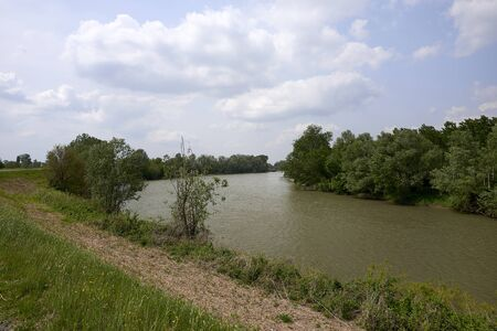 Calvatone (Cr), Italy, the Oglio river Stock fotó