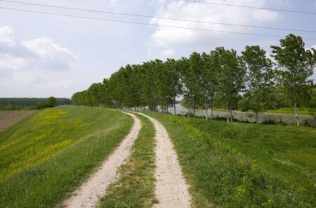 Calvatone (Cr), Italy,  the Oglio river bike path