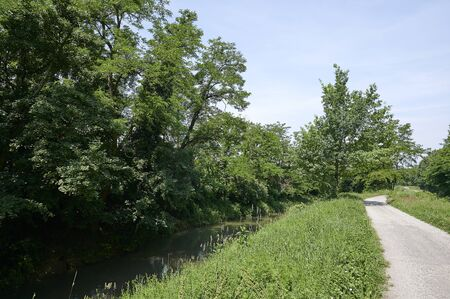 Mirabello Ciria (Cr), Italy, the bycle path of the Civic Canal