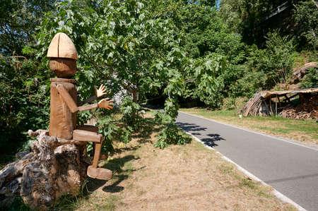 Morbegno (So), Italy, a curious wooden Pinocchio
