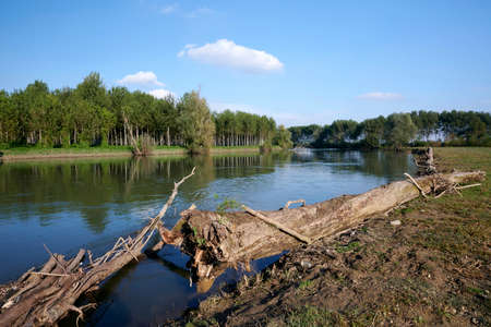 Isola Dovarese (Cr), Italy, a view of the river Oglio