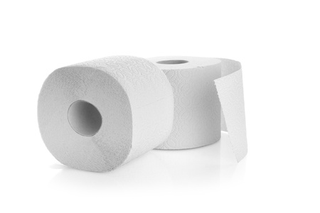 two rolls of toilet paper isolated on a white background Stock Photo