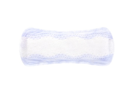 one purple pantyliner isolated on white background