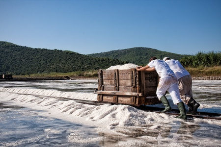 salted workers in Croatia Stock Photo