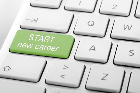 Wording Start new career on computer keyboard Stock Photo - 13629452