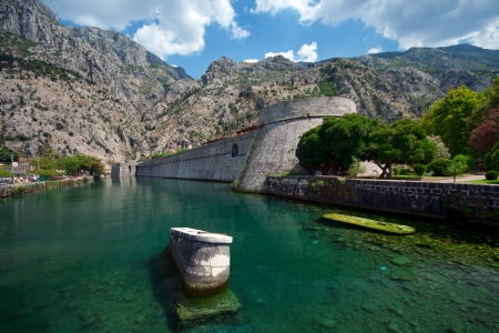 Wall Fortifications in City Kotor Stock Photo