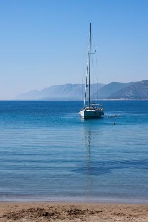 lap of luxury: sail boat and people in sea near Dubrovnik, Croatia