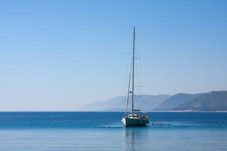 sail boat and people in sea near Dubrovnik, Croatia