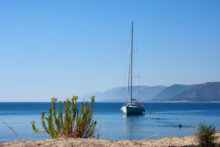 Sail boat, Adriatic sea near Dubrovnik, Croatia Stock Photo